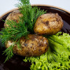 Картофель запеченный на углях в бараньей сетке Джигит