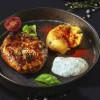 Стейк з трьох видів м'яса у свинній сітці з печеною картоплею Grill Pub